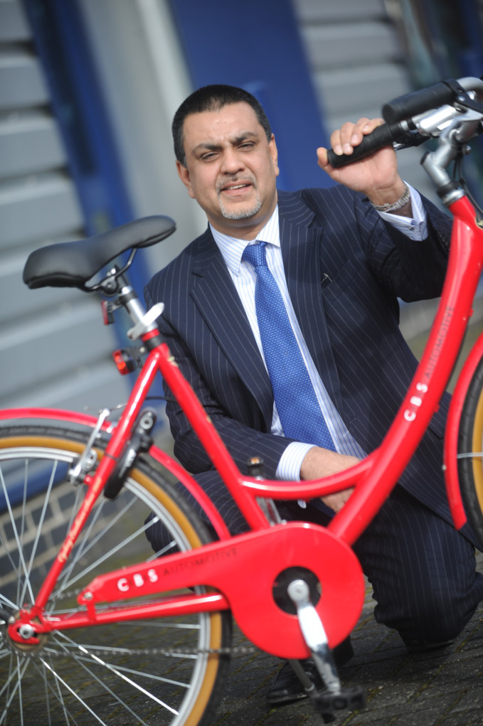 Naeem Khokhar with the companies Courtesy Bike: Pictures Keith Jones
